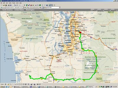 Day 2 Route - From the rally site in Menlo, WA., around Mt. Rainer, to home.