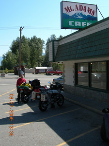 Jeff and I stop for breakfast at the Mt. Adams Cafe in Randle, WA. on the way down to Hood River.