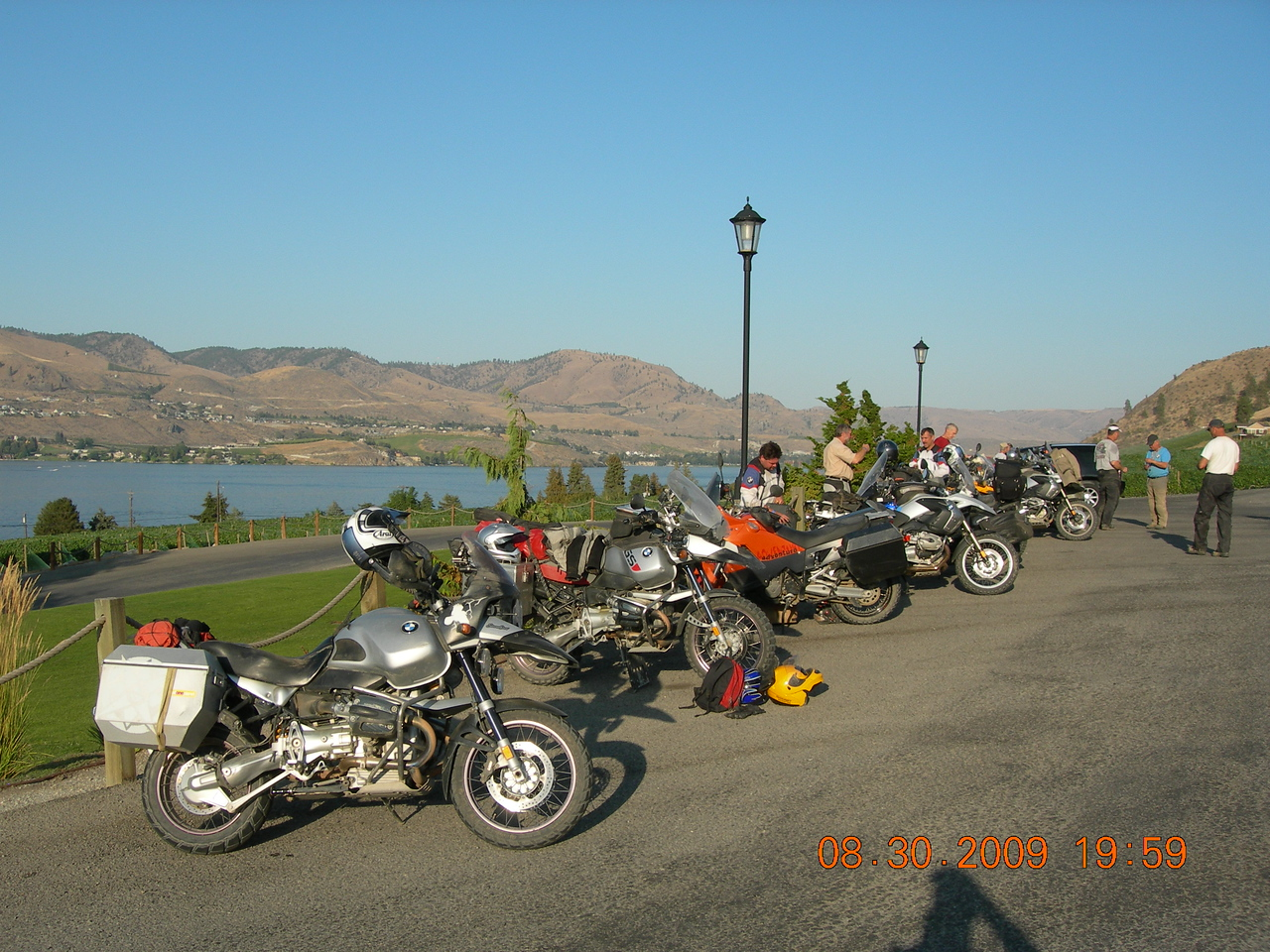 Meeting up at the Tsillan Cellars in Lake Chelan for a group photo and ticket raffle with prizes donated by Ride West BMW in Seattle.