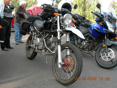 This bike started life as a Ducati Monster and is re-worked into an Enduro by a guy in San Francisco.  A cool bike for sure!