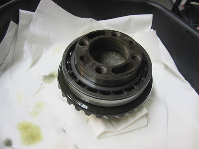 Crown Wheel assy. removed from case half.  No heat required at this point.  The big bearing pictured is the target.