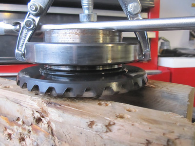 Bearing starting to lift.  To get to this point required much heat to be applied to the bearing from a Heat Gun.