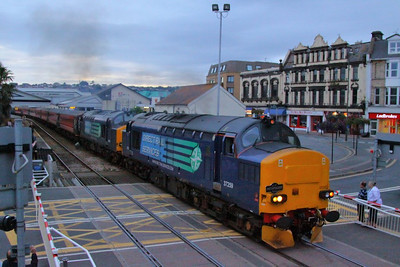"37259 & 37612 depart Paignton on the: 1Z38 19:10 Kingswear to Tame Bridge Parkway ""The Dartmouth Flyer""  31/08/12  Watch the departure video at: http://youtu.be/d9Bnhi0lcdA"
