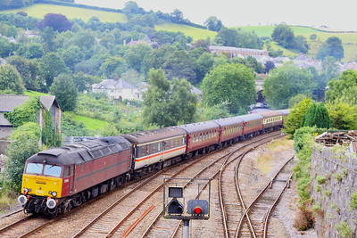 "57601 departs Totnes on the rear of the: 1Z37 05:05 Norwich to Plymouth ""South Western Adventurer""  18/08/12"