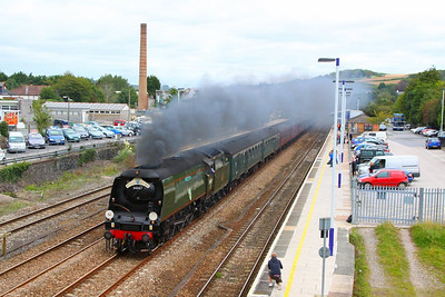 "34067 Tangmere heads west through Totnes on the: 1Z34 08:48 Bristol Temple Meads to Par ""The Royal Duchy""  16/09/12  Watch the video at: http://youtu.be/vUZY9_7ore0"