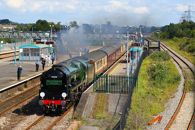 "35028 Clan Line heads west through Severn Tunnel Junction on the: 1Z74 08:45 Victoria to Cardiff Central ""The Cathedrals Express""  20/08/12  Watch the video at: http://youtu.be/3xGWbLTZ3n4"