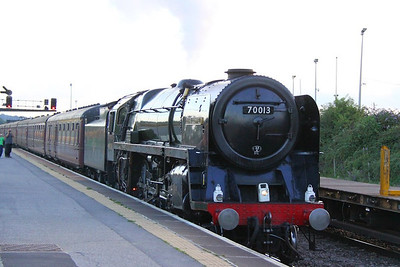"""70013 Oliver Cromwell heads east through Westbury on the: 1Z46 18:14 Bishops Lydeard to Paddington """"The West Somerset Steam Express""""  18/08/12"""