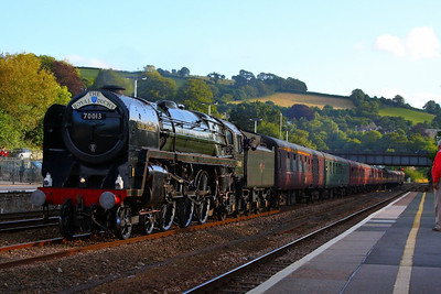 "70013 Oliver Cromwell heads north through Totnes on the: 1Z35 17:45 Par to Bristol Temple Meads ""The Royal Duchy""  29/07/12  Watch the video at: http://youtu.be/0pmaOcR6xh8"