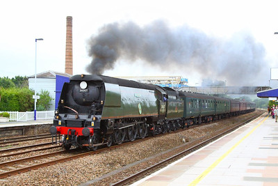 "34067 Tangmere heads west through Totnes on the: 1Z34 08:48 Bristol Temple Meads to Par ""The Royal Duchy""  02/09/12  Watch the video at: http://youtu.be/NZfkkbiKgqc"