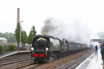 "34067 Tangmere heads west through Totnes on the: 1Z34 08:48 Bristol Temple Meads to Par ""The Royal Duchy""  23/09/12  Watch the video at: http://youtu.be/A_LCcZR3y_o"