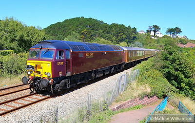 "57315 heads south through Hollicombe Gas Works on the: 1Z47 06:15 Crewe to Kingswear ""The English Riviera Statesman"" 31/08/13  Watch the video at: http://youtu.be/sMhwkElo-ko"