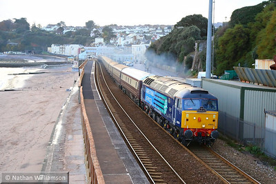 47813 heads north through Dawlish with the Northern Belle, forming the: 1Z69 15:08 Newton Abbot to Cardiff Central 04/12/13  Watch the video at: http://youtu.be/OeeMBO9qJcc