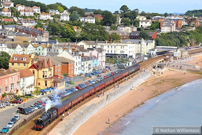 "44932 heads west through Dawlish along Marine Parade on the: 1Z37 08:48 Bristol Temple Meads to Par ""The Royal Duchy"" 01/09/13  Watch the video at: http://youtu.be/xxxmzwe59zM"