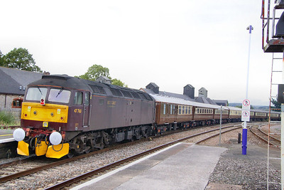 """47760 heads north through Newton Abbot on the rear of the: 1Z63 17:15 Kingswear to Crewe """"The Riviera Statesman"""" 27/08/11  Watch the video at: http://www.youtube.com/watch?v=IBKhxPAbAGk"""