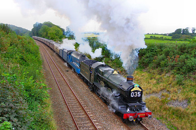 "5029 ""Nunney Castle"" & 4492 ""Dominion of New Zealand"" make a fine sight climbing Hemerdon Bank on the: 1Z47 16:11 Plymouth to Paddington  ""The Mayflower""  17/09/11  Watch the video at: http://youtu.be/0V3j-97v5Ao"