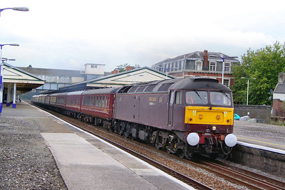 """47804 heads north through Newton Abbot on the: 1Z63 17:15 Kingswear to Crewe """"The Riviera Statesman"""" 27/08/11  Watch the video at: http://www.youtube.com/watch?v=IBKhxPAbAGk"""