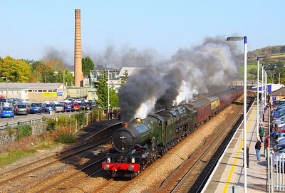 """6024 """"King Edward I"""" & 70013 """"Oliver Cromwell"""" head west through Totnes on the: 1Z71 06:09 Poole to Plymouth """"The Devonian"""" 22/10/11  Watch the video at: http://youtu.be/Kr22pGnGFI4"""