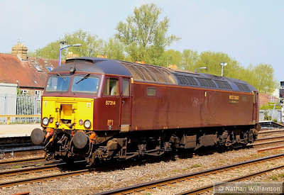 57314 heads north through Oxford light engine on: 0Z57 09:30 Southall to Tyseley  30/04/14