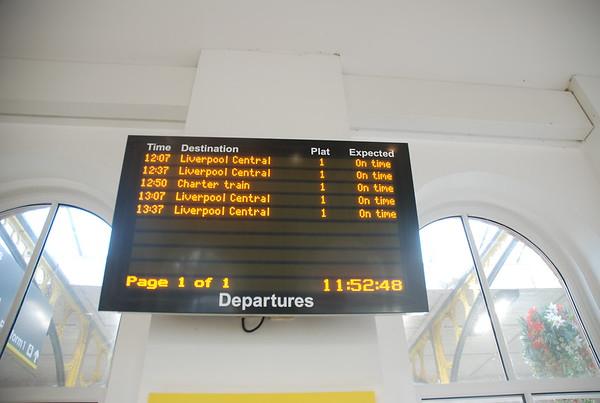 Destination board at Ormskirk