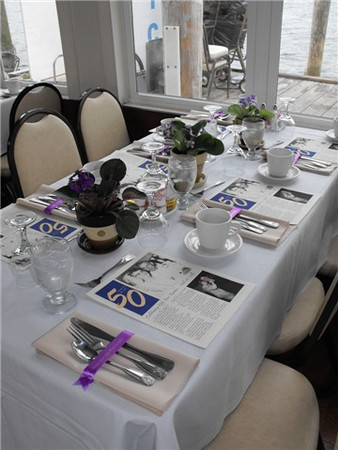A sit down dinner for a 50th family anniversary aboard the Duchess.