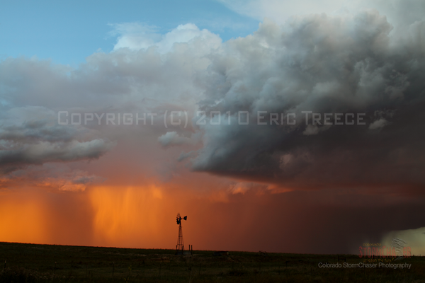 Storm near Elizabeth, CO at sunset.