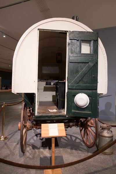Restored sheepherder's camp wagon.