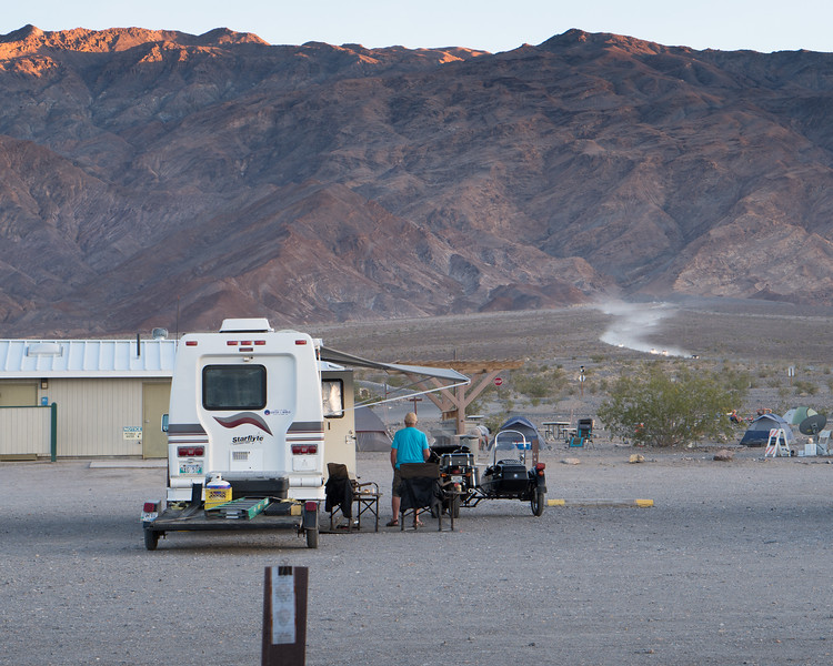 Hikers driving out from Mosaic Canyon, Death Valley NP.
