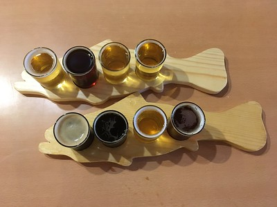 Dinner at the Fish Tale Brewery, complete with flights of beer and cider