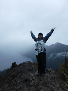 Made it to the top!  yes, it's raining!