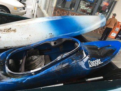 """On my way out of Port Angeles, a random dude pulled up next to me at a gas station and asked me if I wanted to buy this """"river kayak"""" for $45."""