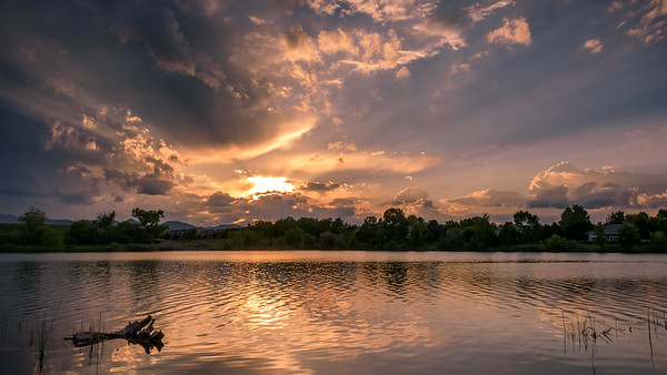 Golden Sky Sun Rays over the South Platte Ponds