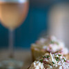lobster salad on toast with pick wine