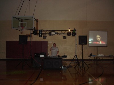 DJ Dwayne Gordon aka DJ D Boy doing a quick sound check