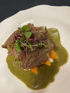 Thai green curry, braised beef cheeks, glazed carrots