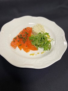 Salad – Home smoked salmon, Dijon potato salad, arugula, capers, honey mustard dressing – Salmon was cured for 48 hours in equal parts salt & sugar then smoked for 30 minutes with a mixture of hickory wood chips and lemon tea leaves (all my own recipe)