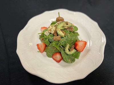 Strawberry & cucumber salad – Strawberry's, cucumber, baby spinach, candied pecans, grain mustard dressing
