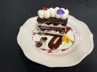 Black Forest cake – Chocolate sponge cake, whipped cream, dark cherries, chocolate ganache, dark cherry syrup