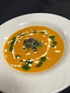 Soup – Roasted red pepper, pesto oil, reduced parmesan cream