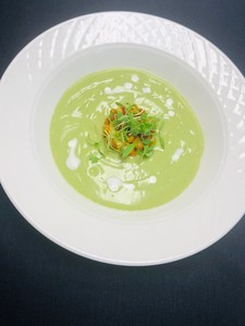 Chilled avocado soup, tian of avocado, red & green peppers, spiced crunchy corn