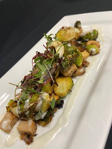 Sautéed Brussel sprouts, soy braised pork belly, cashew nuts, coconut & lime sauce