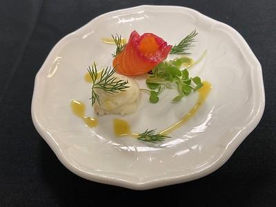 – Amuse bouche – Norwegian salmon & beet gravadlax, potato salad puree, honey mustard dressing