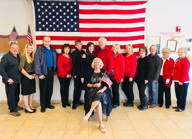 The Chelmsford Elks team with Darlene Costos of Chelmsford, seated, chairwoman of the Veterans Committee