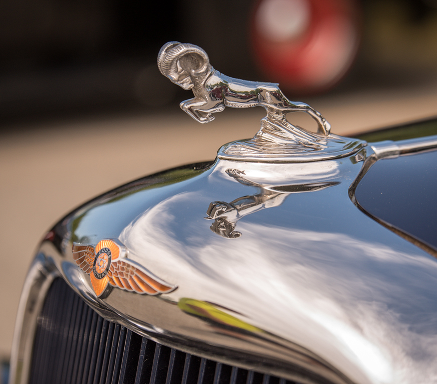 . Hood ornament, 1935 Plymouth PJ Sedan.   Families and car enthusiasts looked over vintage and not so vintage cars at the 3rd Annual Custom and Streetrod Car Show on Sunday at the Chelmsford Elks Lodge hosted by the Veterans Park Committee.  SUN/Scot Langdon