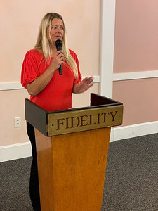 Mindy Westberry of Westford, chairwoman of the Elks' Veterans Committee, addresses the crowd.
