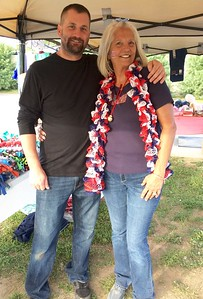 Elks member and Veterans Chairwoman Darlene Costos of Chelmsford with son-in-law veteran Sgt. Jonathan Young of Townsend