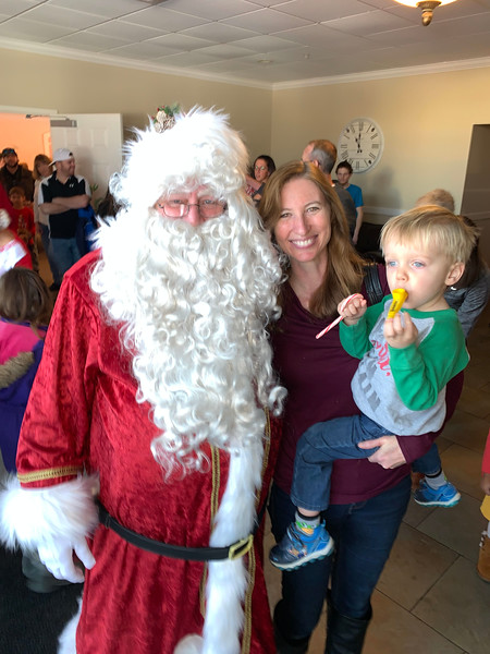 Santa with Cindy Cantrell and the adorable Andrew McHugh of Chelmsford at the Elks