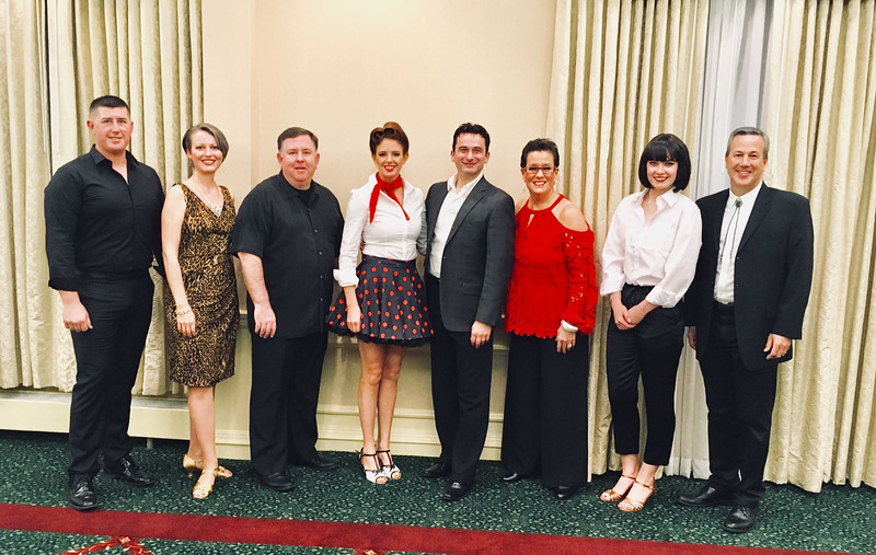 """The dancer and the """"stars"""" — from left, Bob Brown of Chelmsford, Laura Maillander of Tyngsboro, Jay Lang of Lowell, winners Megan Howarth of Chelmsford and Mica Milojkovic of Reading, Sheila Vaughan of Chelmsford, Hannah Ernst of Brookline, and Rick Romano of Chelmsford"""