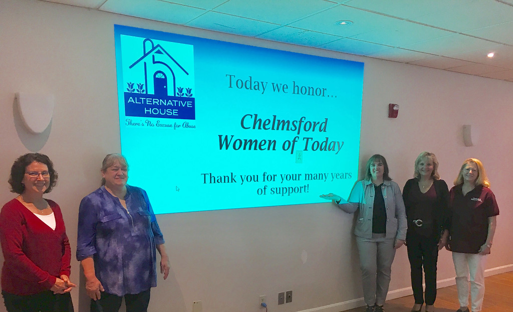 . Chelmsford Women of Today, from left, Lucia Pacitti of Chelmsford, Irene Masson Steimmann of Lunenburg, President Shelley Snider of Chelmsford, Melanie Kempton of Windham, N.H., and Jackie Dowling of Chelmsford