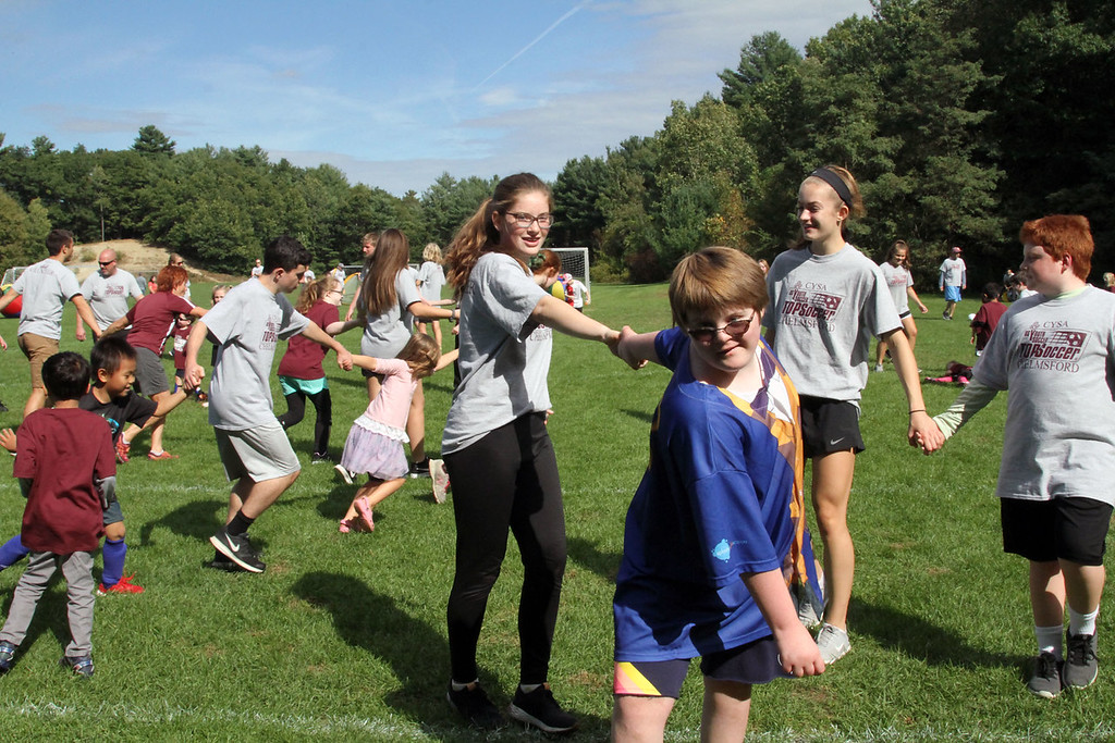 . Volunteers and players at the Top Soccer camp in Chelmsford. SUN/David H. Brow