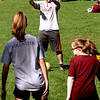 Volunteer Mike Sexton working with special needs kids at the Top Soccer camp in Chelmsford. SUN/David H. Brow